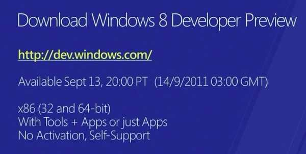 U kunt Windows 8 Developer Preview gratis downloaden